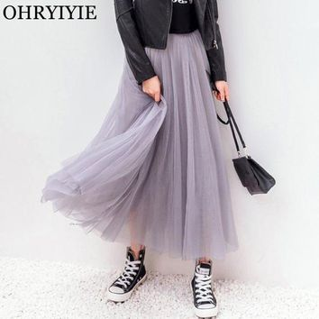 DCCKFS2 OHRYIYIE 2018 Spring Summer Vintage Skirts Womens Elastic High Waist Tulle Mesh Skirt Long Pleated Tutu Skirt Female Jupe Longue