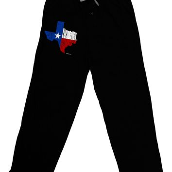 State of Texas Flag Design - Distressed Adult Lounge Pants - Black by TooLoud