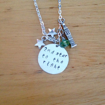 2nd Star to the Right Neverland Hand Stamped Charm Necklace, Peter Pan Necklace, Tinkerbell Necklace, Neverland