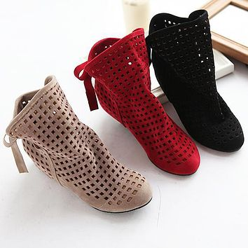 size 34-43 Women's Boots Summer Cute Flock Flat Low Hidden Wedges Solid Cut-outs Ankle Boots Ladies Dress Casual Shoes 3 colors