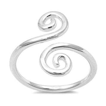 Double Swirl Toe Ring Sterling Silver
