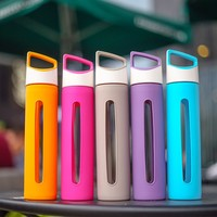 400ML Glass Water Bottle with Soft Silicone Sleeve