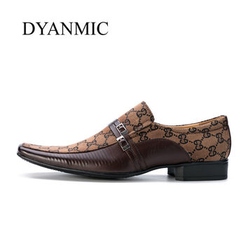 DYANMIC Mens Dress Shoes 2017 New Italian Fashion Vintage Mans Black/Brown/Gray Smart Party Wedding Formal Faux Leather Shoes