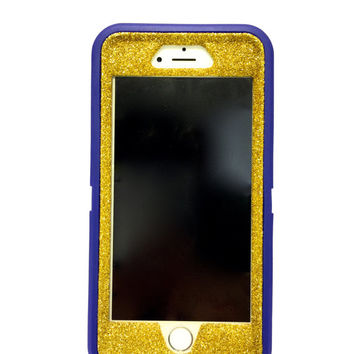 iPhone 6 (4.7 inch) OtterBox Defender Series Case Glitter Cute Sparkly Bling Defender Series Custom Case  gold/ purple