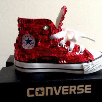 LMFUG7 Children's red sequined converse