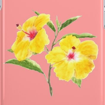 yellow hibiscus watercolor painting by ColorandColor