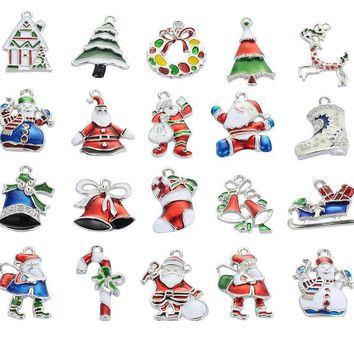 Christmas lots 20 Pieces Silver-tone Mix Unique Enamel Christmas Charms Pendants