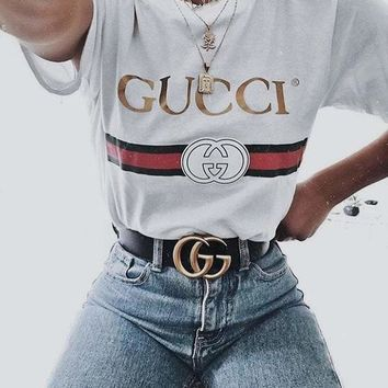 Gucci Summer Round neck Short sleeves T-Shirt Top Tee