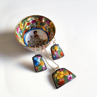 Broken Plate Pendant and Earring Set  Colorful by TheBrokenPlate