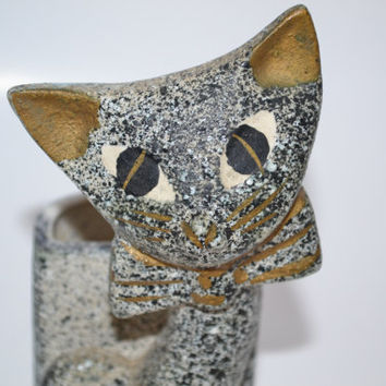 Vintage Cat Planter japan small gray cat spring decor