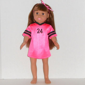 American Girl Doll Hot Pink and Black Football Jersey Nightgown with Panties