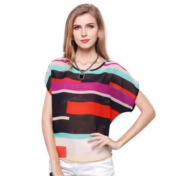 New 2017 Summer Casual Cool Blouse Women Printed Striped Chiffon Shirt Loose Short Sleeves Fashion Plus Size Chemise Female Top