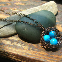 Rustic Robins Nest necklace in copper with dark blue by kmaylward