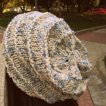White-blue knit hat,woman hat,hand knit hat,white slouchy beanie,woman accessories,winter hat,blue hat,woman gift,christmas gift