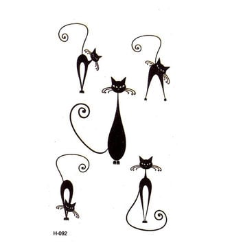 Black cat Temporary Tattoos men Waterproof Temporary Body Arts flash tattoo Pattern temporary tatoo tatuajes temporales henna