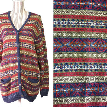 Vintage Cardigan Colorful Aztec Tribal Geometric Pattern Womens 80s Oversized Baggy Sweater Nordic Style Button Front V Neck Jumper Jacket