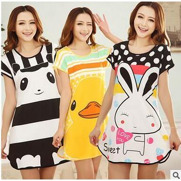 Women's nightgown summer dress cartoon short sleeve nightdress women home dress