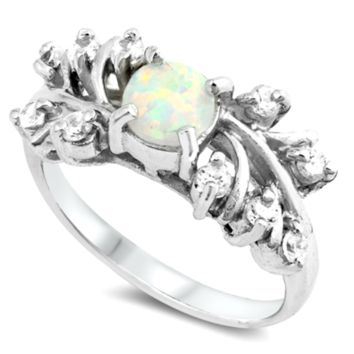 .925 Sterling Silver White Fire Opal Ladies Ring Size 5-10 Round Cut Cluster Solitaire