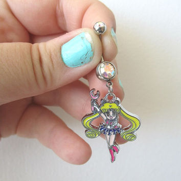 Sailor Moon Bellybutton Piercing  - USAGI - Belly iridescent botton jewelry