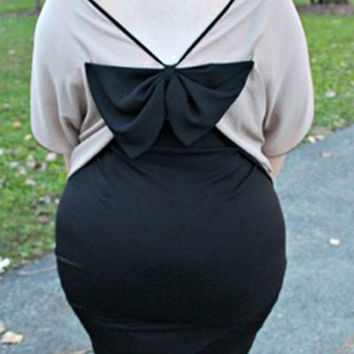 Backless Bowknot T-Shirt with Plus Size Skirt Twinset