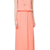 LONG DRESS WITH GATHERED WAIST - Dresses - TRF - ZARA United States