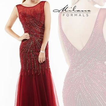 Milano Formals Beaded Long Dress E1936