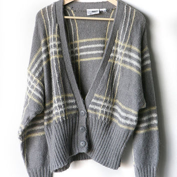 SLOUCHY oversize Cardigan subtle plaid GREY & yellow COZY grampa Sweater