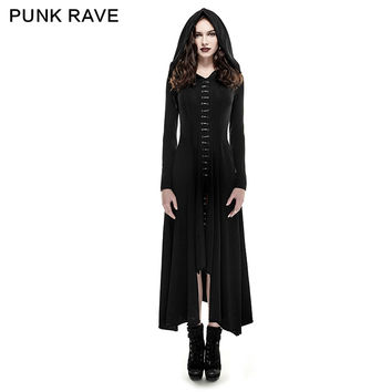 Punk Rave Dark Arts Women fashion Dress Long Black Hooded Gothic Witch Cloak XS-3XL