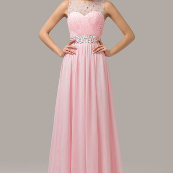 Solid  Ruched Mesh Beaded Sleeveless Cutout  Chiffon Maxi Evening Dress