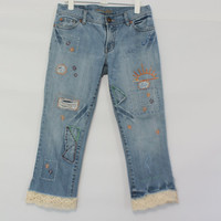 Boho Hippie Funky Jeans / Grunge Ripped Frayed Capri Denim / Festival Hipster Jean / Earthy Chambray Clothing / Cut Offs / Upcycled Clothes
