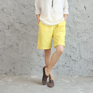 Solid Neon Candy color Cotton linen Women Shorts White Yellow Green Casual Summer Shorts Pink Red Elastic waist Cute Shorts 5043