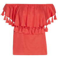 St. Roche EXCLUSIVE Off The Shoulder Tassel Top: Red | Extra 40% Off Select Styles | INTERMIX