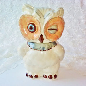 Vintage Shawnee Winking White Snow Owl Porcelain Ceramic Cookie Jar MINT Antique USA Authentic Kitchen Serving Home Decor Animal Bird Estate