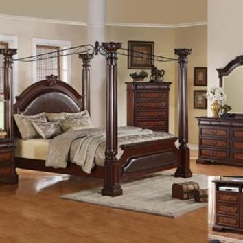 Crown Mark neo renaissance canopy bedroom set