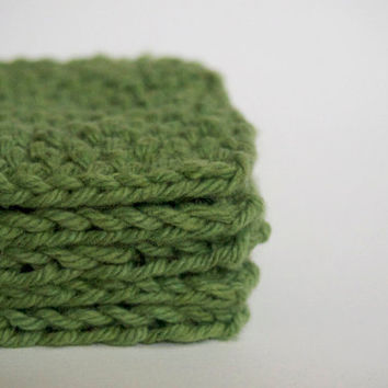 hand knit sage green scrubbies / facial pads, set of 5
