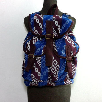 Ethnic Tribal Backpack, Handmade Canvas Drawstring Backpack, Ikat Abstract Aztec backpack, Hippie Hipster Boho Folk backpack, Mens Rucksack