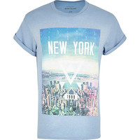 River Island MensBlue New York triangle skyline print t-shirt