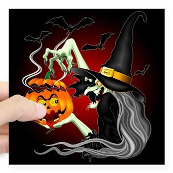 WITCH WITH JACK O'LANTERN AND BATS STICKER
