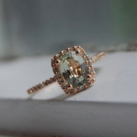 Jasmine sapphire in 14k rose gold diamond by EidelPrecious on Etsy