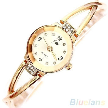 Women's Rose Gold Plated Alloy Rhinestone Bracelet Round Dial Quartz Analog Wrist Watch = 1956509892