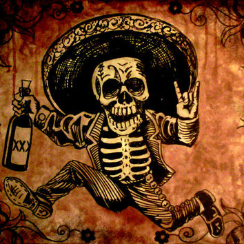 "Day of the Dead running skeleton ""The Get Away"" stretched canvas"