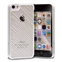 GreatShield TACT Series Design Pattern Rubber Coating Slim Fit Hard Case Cover for Apple iPhone 5C (Crystalline - White)