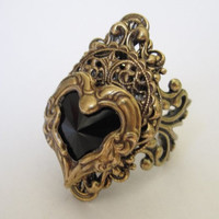 Onyx Ra - Swarvoski Ring - Filigree Ring - Fantasy Ring - Egyptian Ring - Art Nouveau Jewelry - Swarovski Jewelry - Game of Thrones