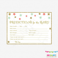 Coral Mint Baby Shower, Predictions for Baby, Baby Predictions, Instant Download, Baby Shower Printables, Twinkle Twinkle Little Star, STCMG