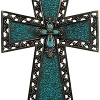 Blue Crackled Glass Cross | Mardel