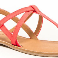 Neon Coral Athena Sandals