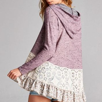 Weekender Lace Tiered Floral Ruffle Mauve Terry Hoodie