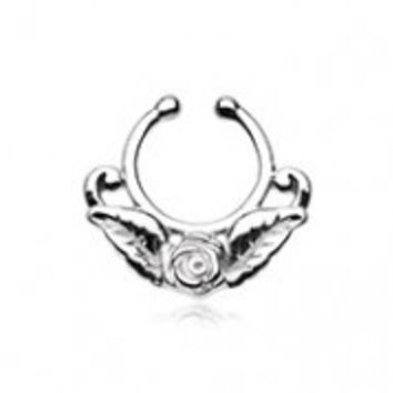Rose Blossom Icon Fake Septum Clip-On Ring