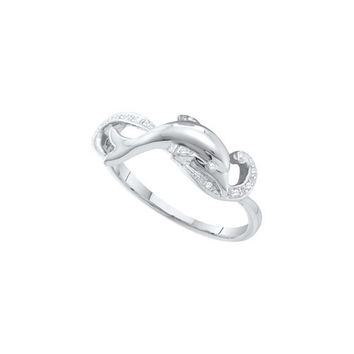 10kt White Gold Womens Round Diamond Dolphin Ring 1/20 Cttw