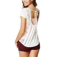 Lace Drape-Back Short-Sleeve Top -